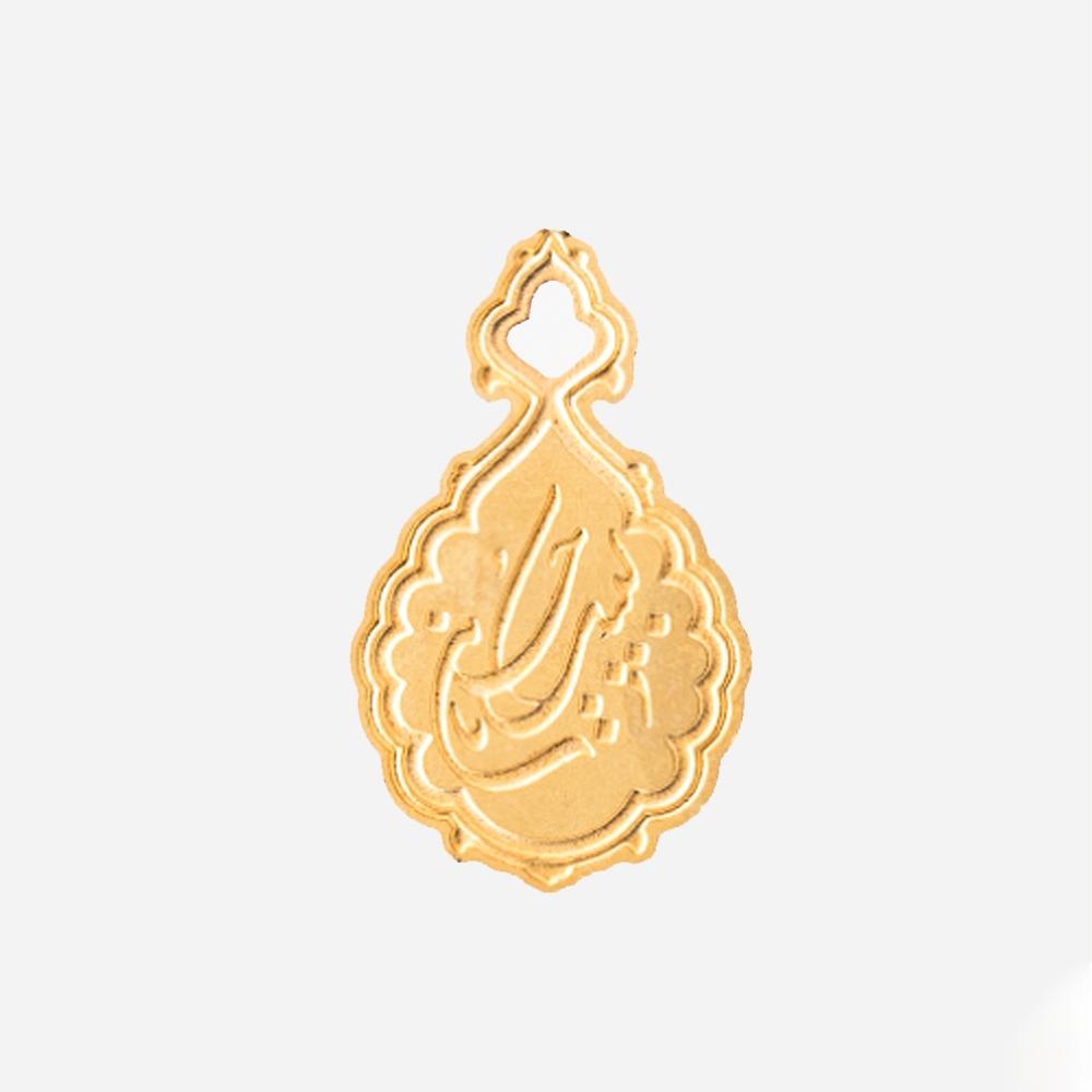 تصویر از بج سینه ساده طرح «لبیک یا حسین» برنجی با چاپ اسیدشویی و رنگ طلایی