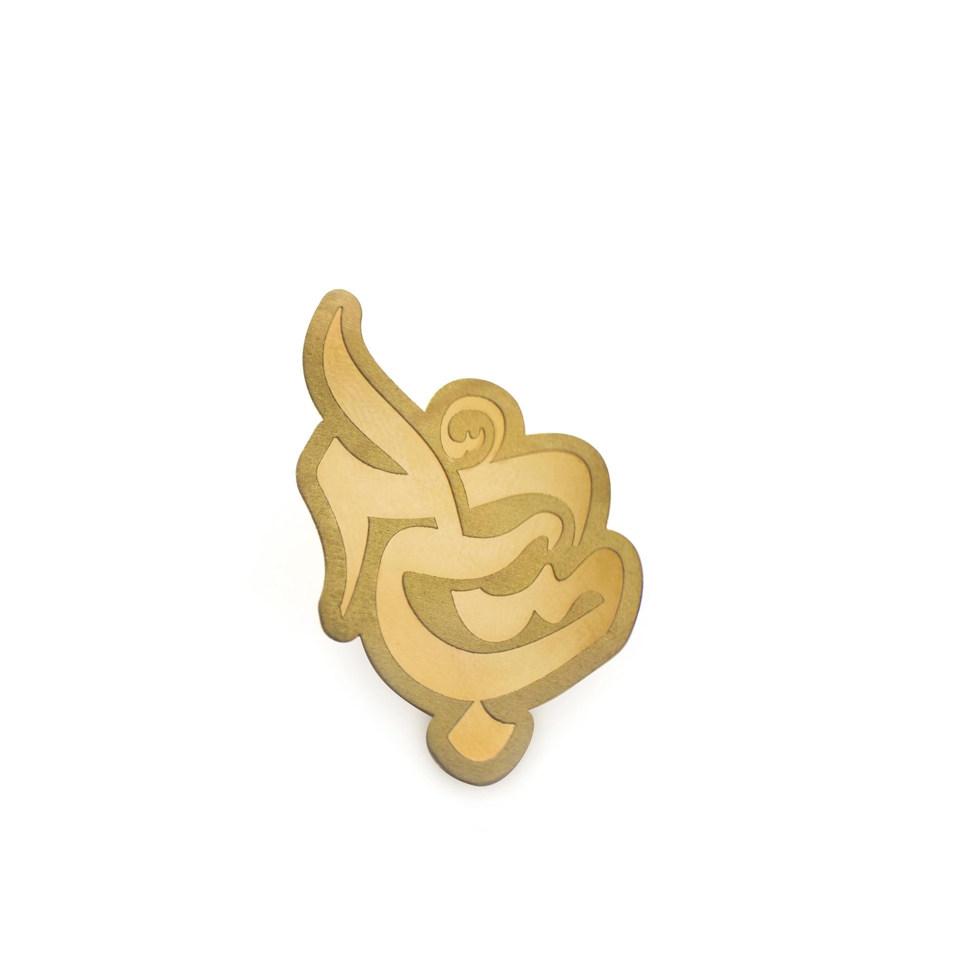 تصویر از بج سینه ساده طرح «عباس» برنجی با چاپ اسیدشویی و رنگ طلایی