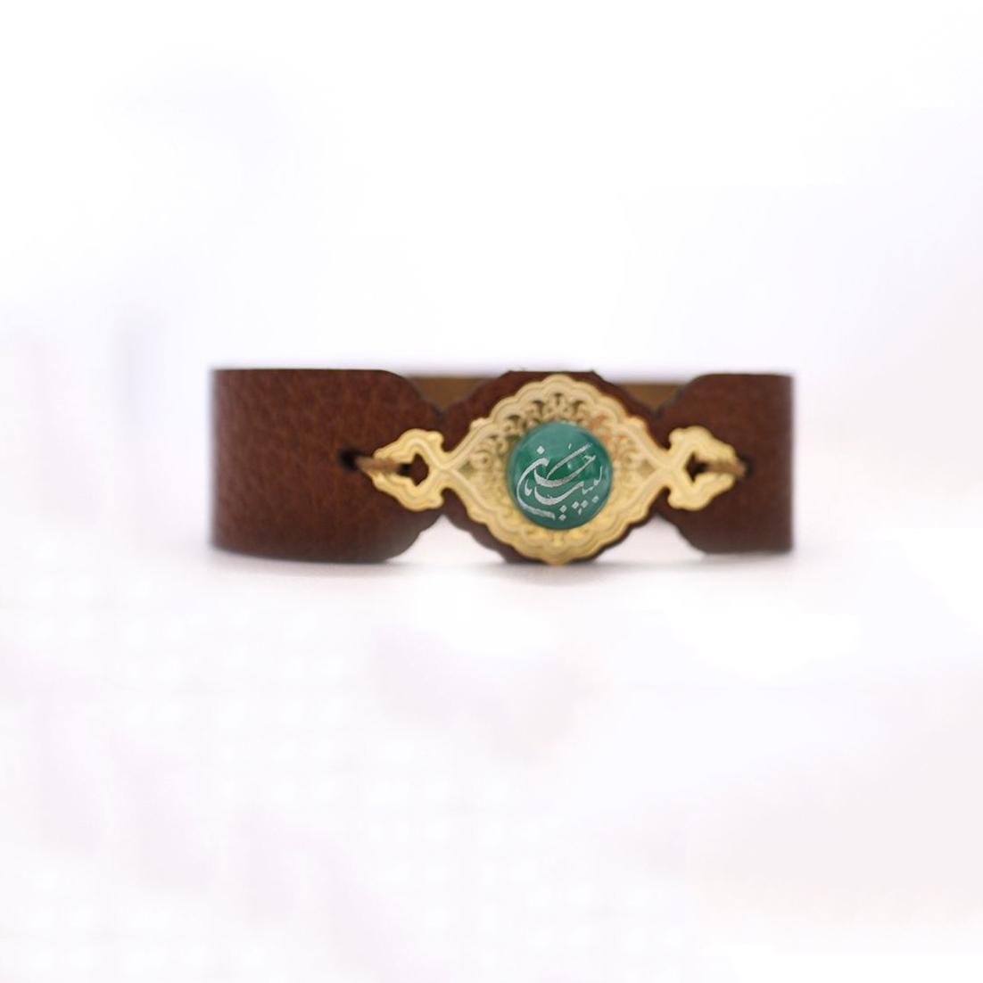 تصویر از دستبند چرمی نگین دار طرح «لبیک یا حسین»