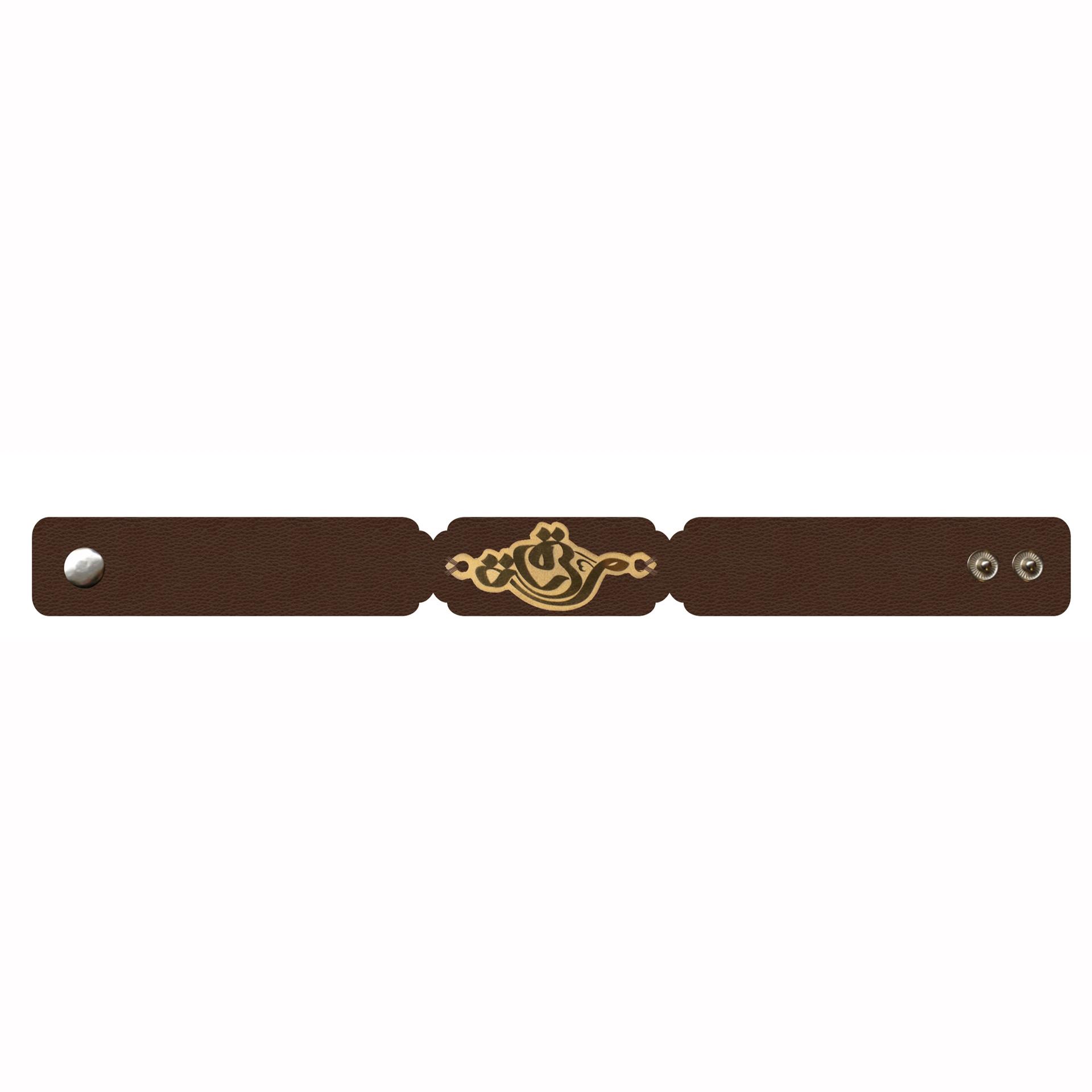تصویر از دستبند چرمی با پلاک برنج طرح «رقیه»