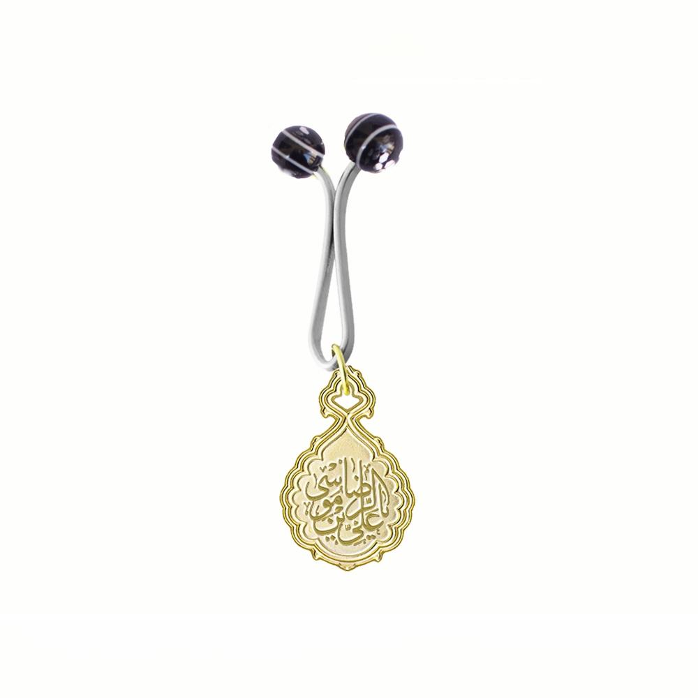 تصویر از گیره روسری ساده طرح «علی بن موسی الرضا» برنجی با چاپ اسیدشویی و رنگ طلایی