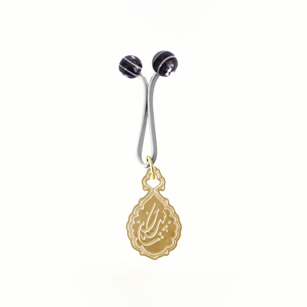 تصویر از گیره روسری ساده طرح «لبیک یاحسین» برنجی با چاپ اسیدشویی و رنگ طلایی