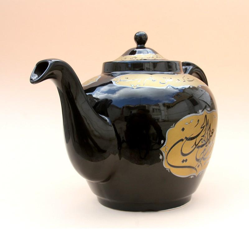 تصویر از قوری چایخانه هیئت با نوشته یا اباعبدالله الحسین (ترک مشکی)1/5لیتری