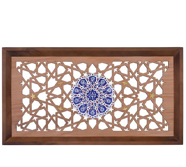 تصویر از تابلو گره چینی سلام مجموعه چوب و مینا طرح شمسه ذکر جلاله