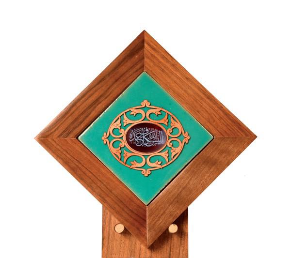 تصویر از تندیس کاشی لعابدار سنتی و عقیق سلام طرح اليس الله