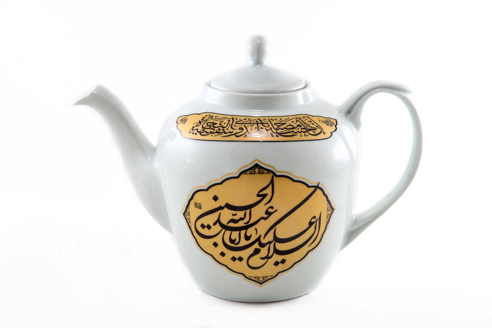 تصویر از قوری چایخانه با ذکر السلام علیک یا اباعبدالله الحسین (ع) و السلام علیک یا ابالفضل العباس(ع) 2/5 لیتری
