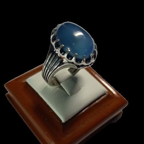 تصویر از انگشتر مردانه عقیق آبی